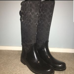 Coach rain boots with lace tie in back- black